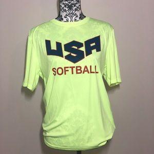 Tops - small usa softball highlighter yellow t-shirt.